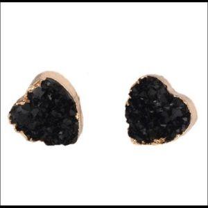 Black druzy heart earrings